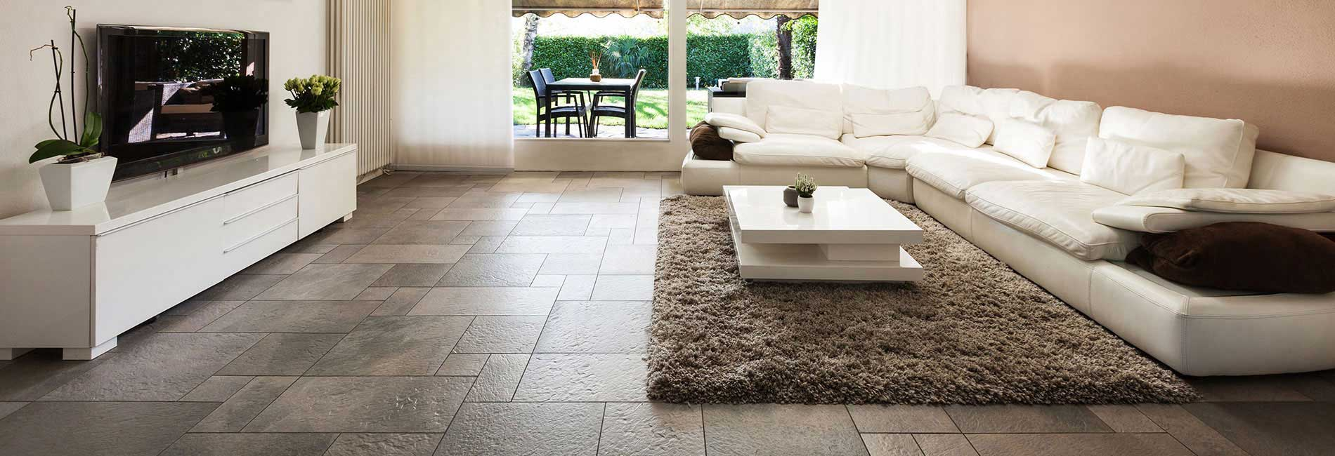 Living Room with Vitrified Floor Tiles