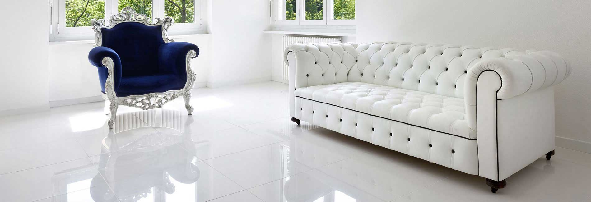 Living Room with White Ceramic and Vitrified Polished Floor Tiles
